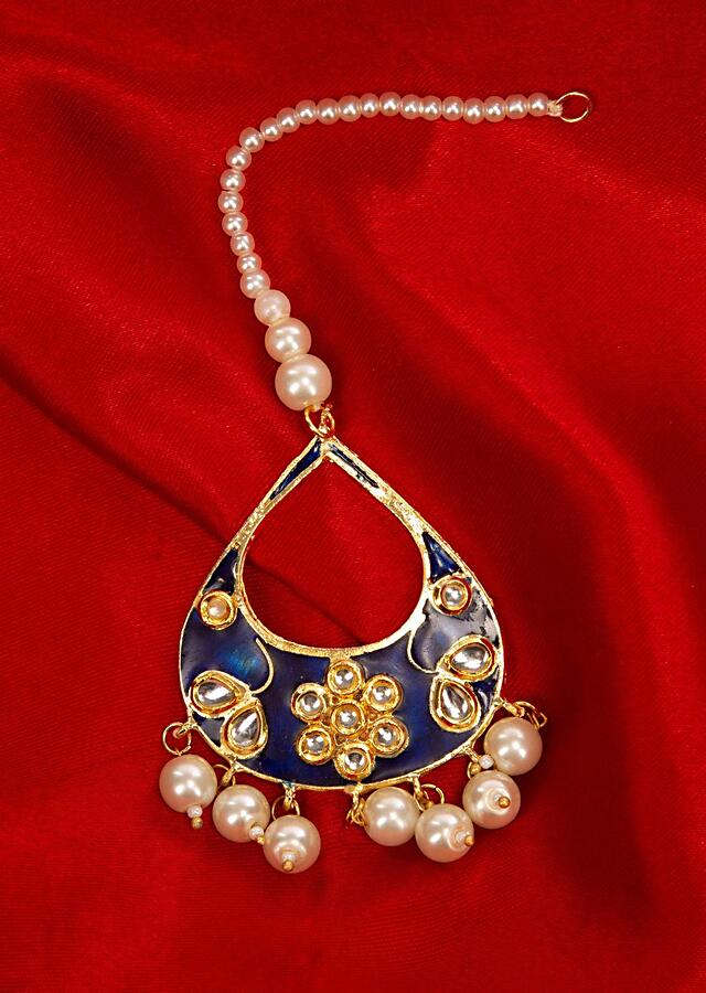 Navy blue maang tikka with meenakari work and pearl beads only on Kalki