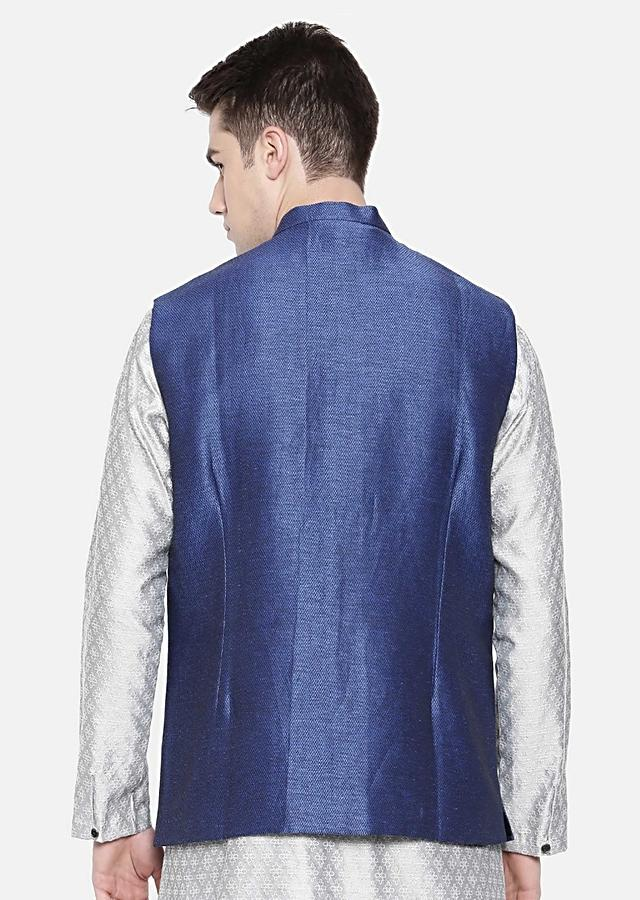 Navy Blue Nehru Jacket In Linen Silk With Overlapping Stylish Placket By Mayank Modi
