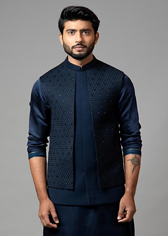 Navy Blue Nehru Jacket With Honeycomb Pattern Embroidery And Panel Detailing By Smriti Apparels