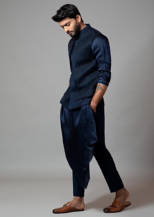 Navy Blue Nehru Jacket With Honeycomb Pattern Embroidery Highlighted With Panel Detailing And Draped Kurta Set By Smriti Apparels
