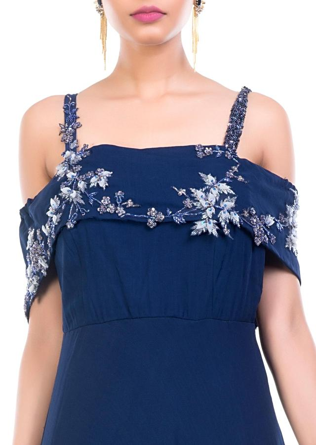 Navy Blue Off Shoulder Gown Online - Kalki Fashion