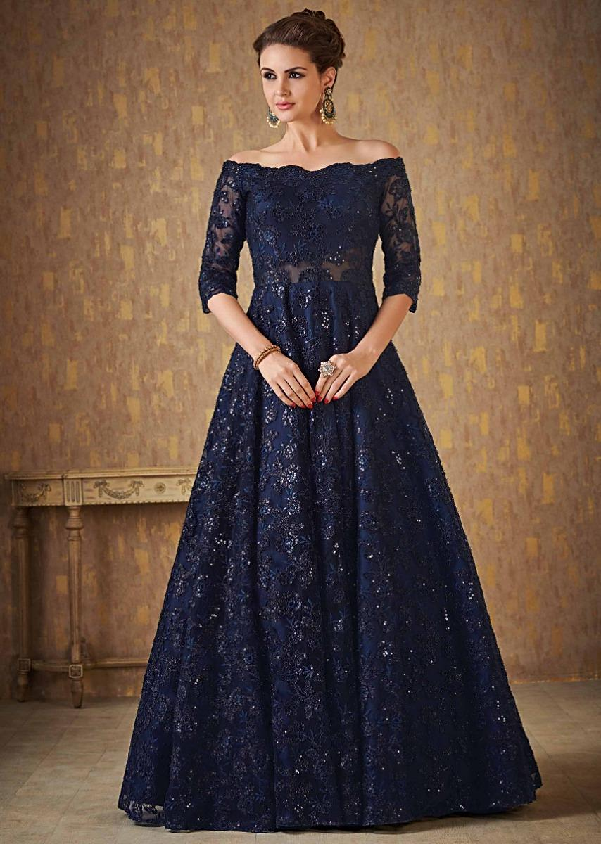 Navy Blue Off Shoulder Gown Adorn In Embossed Thread And Sequin Embroidery  Online , Kalki Fashion
