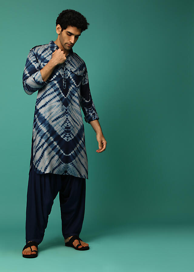 Navy Blue Patiala Suit With Tie Dye Print And Pocket Detailing Online - Kalki Fashion