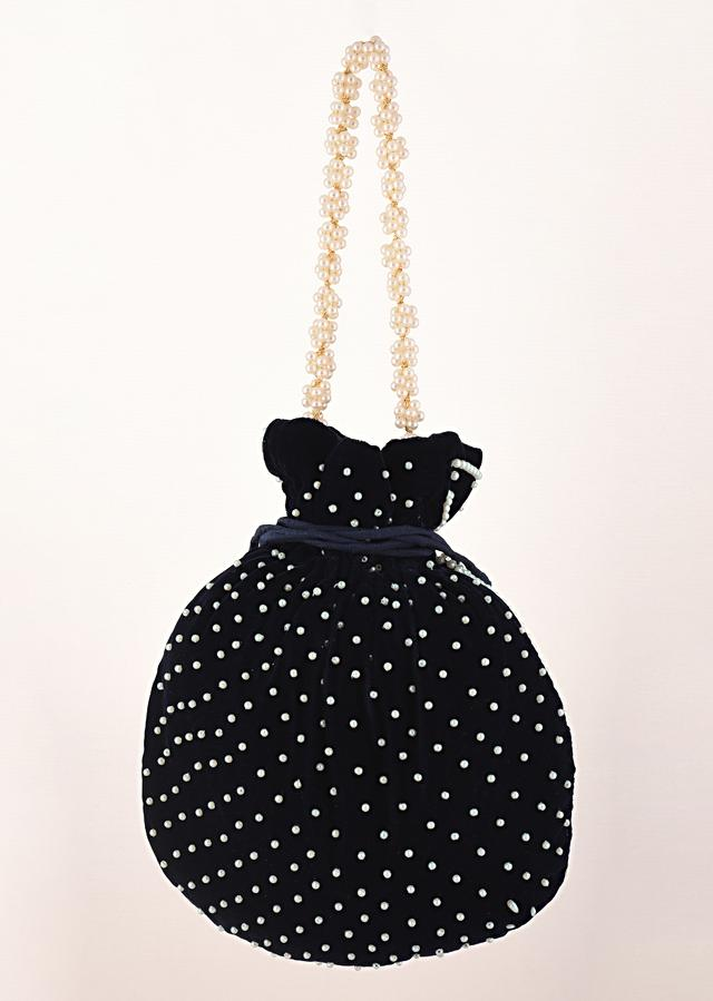 Navy Blue Potli Bag In Velvet With Moti Work In Crescent Design Along The Edge And Scattered In The Centre By Shubham