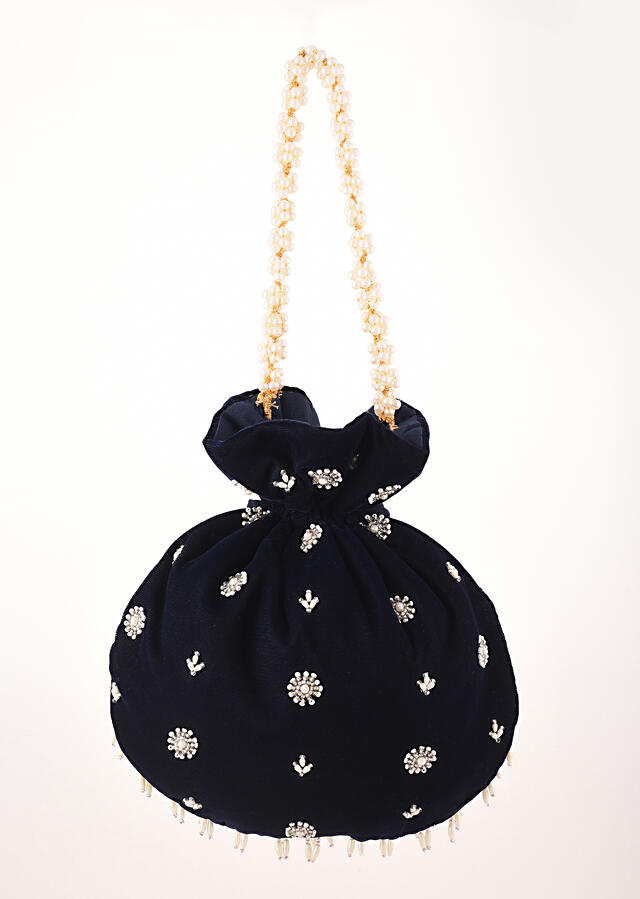 Navy Blue Potli In Velvet Heavily Embroidered With Cut Dana And Moti Work In Scalloped And Tassel Design By Shubham