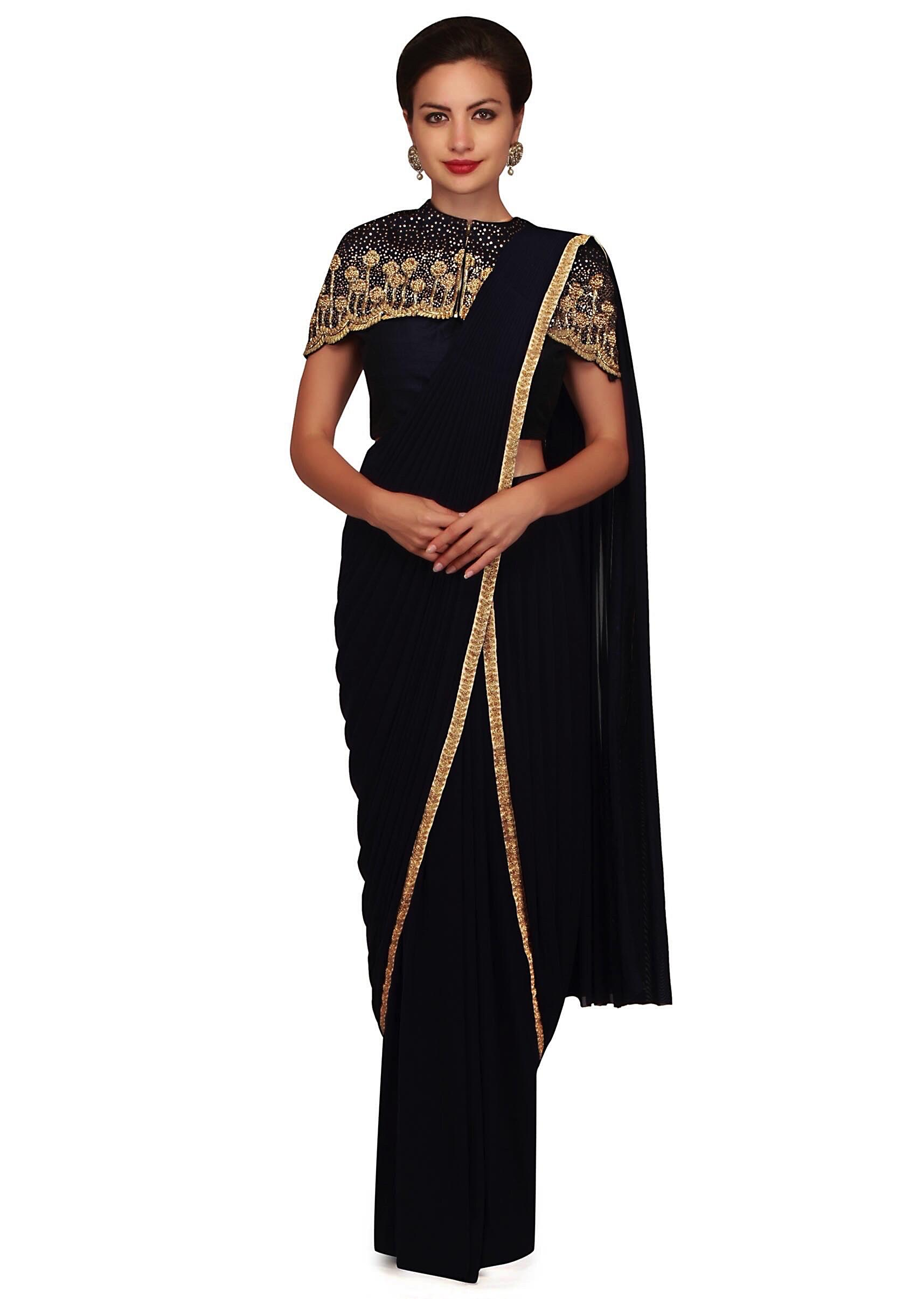 6e01f805a0b91f Navy blue pre stitched saree with fancy cape only on Kalki
