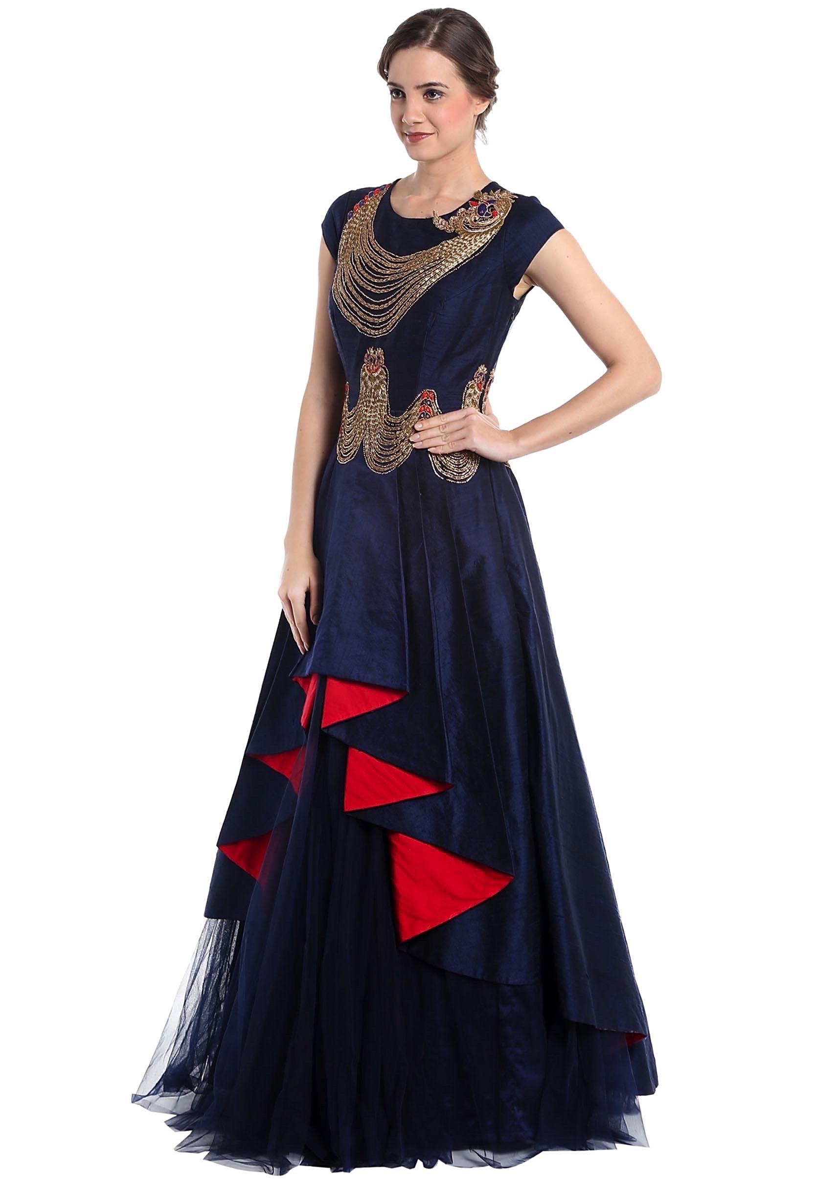 cdaf996eef Navy blue raw silk and net gown with zari work and cascading hemline only  on KalkiMore Detail