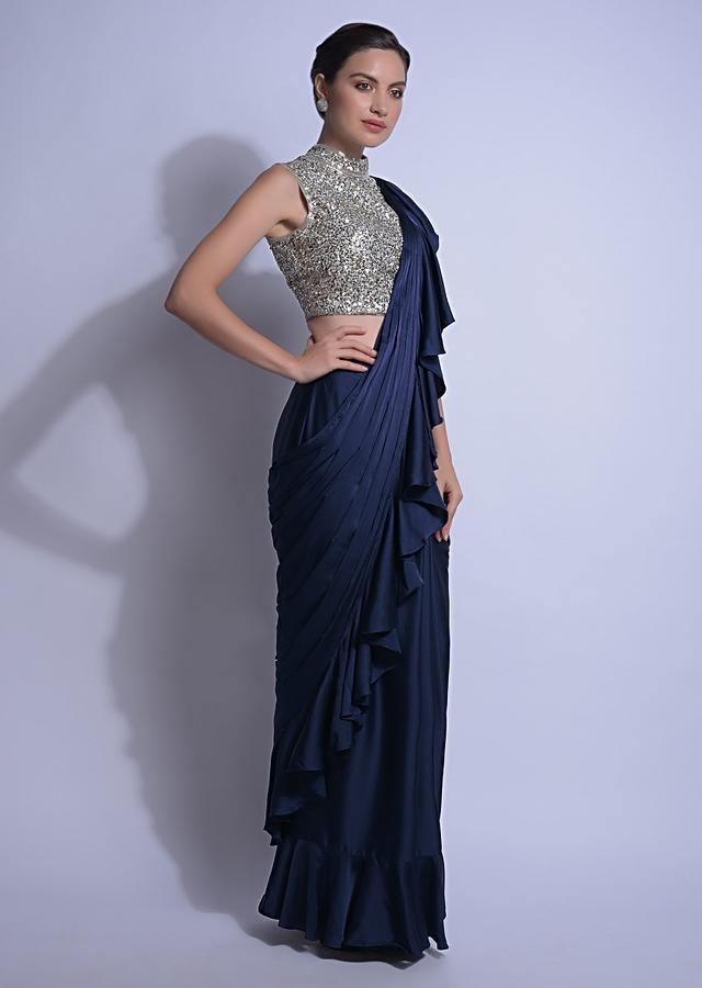 Navy Blue Ready Pleated Ruffle Saree In Satin With Sequins Embellished Blouse Online - Kalki Fashion