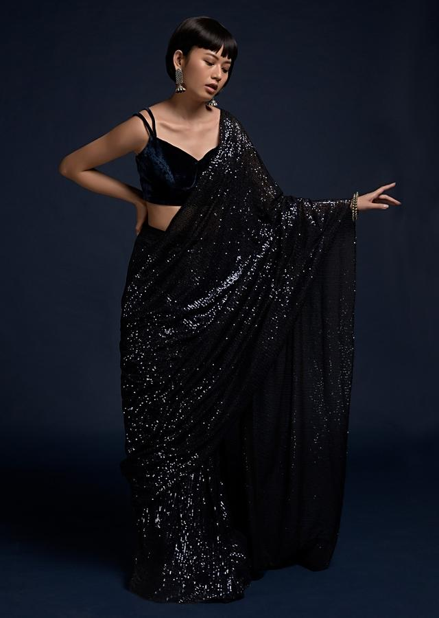 Navy Blue Ready Pleated Saree In Sequins Fabric And Velvet Crop Top With Double Straps On The Shoulders Online - Kalki Fashion