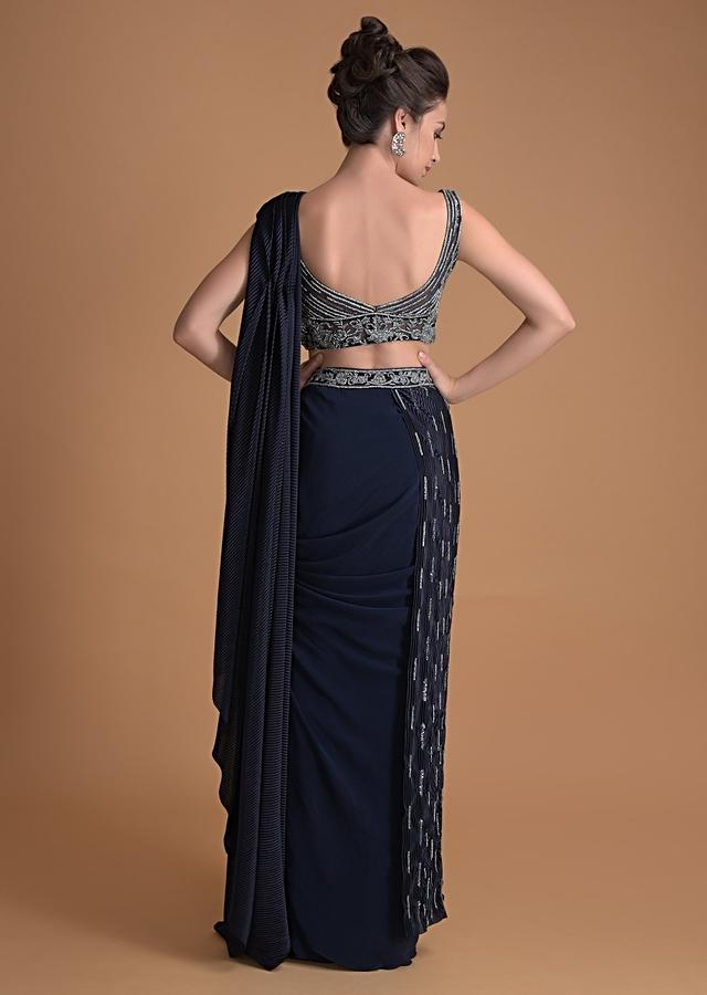 Organic Blue Ready Pleated Saree With Draped Pleats In Crushed Fabric Online - Kalki Fashion
