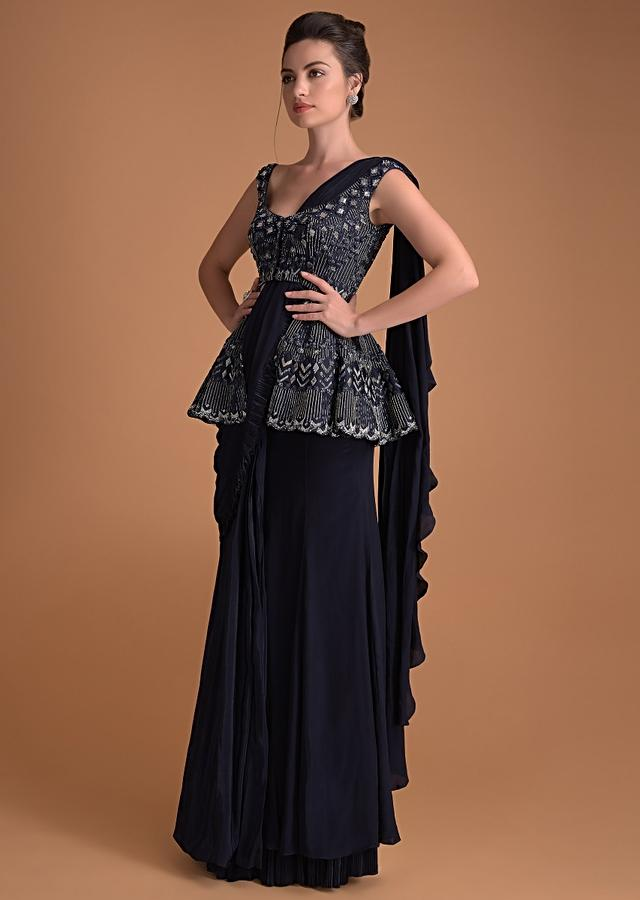 Organic Blue Ready Pleated Saree With Hand Crafted Peplum Blouse Online - Kalki Fashion