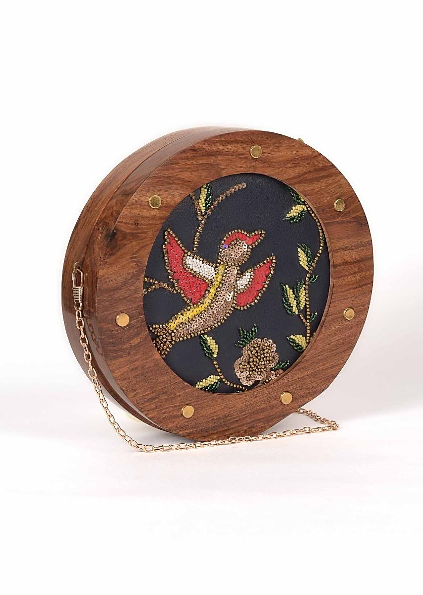 Vintage Frame Bird Embroidery Clutch