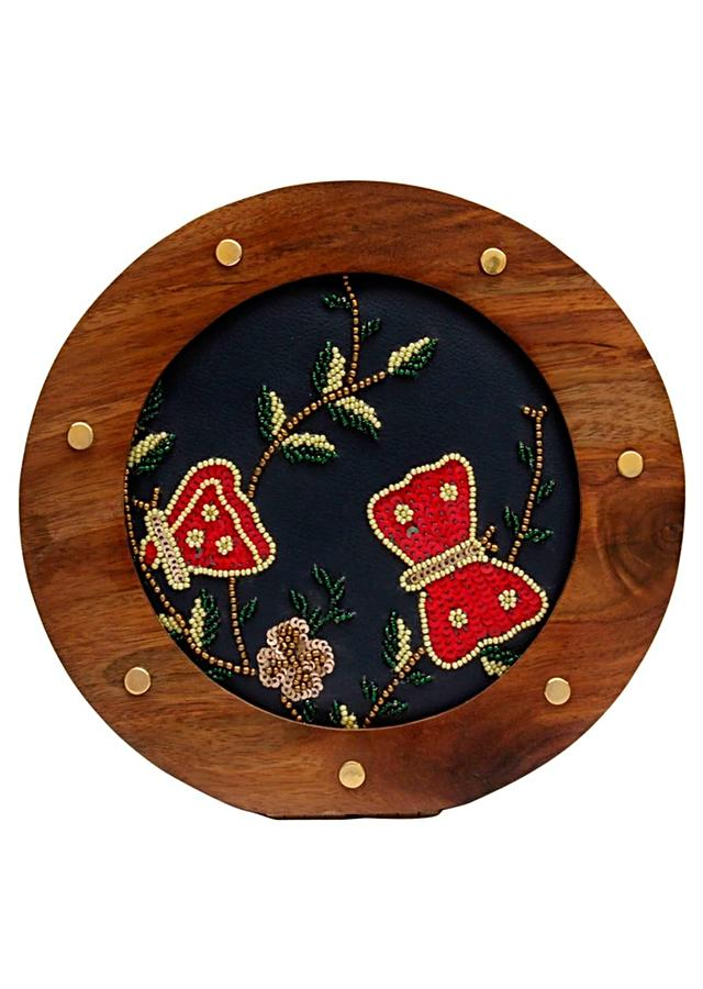 Navy Blue Round Clutch With Wooden Frame And Hand Embellished Butterflies Online - Kalki Fashion