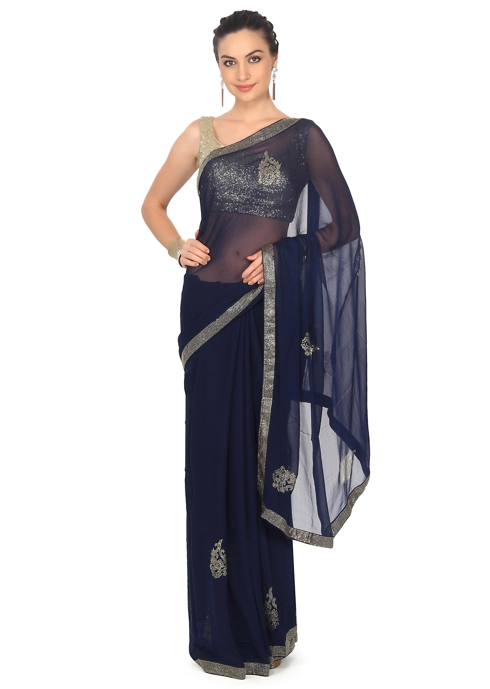 d4868c720a2bf Navy blue saree adorn in kundan embroidery only on KalkiMore Detail