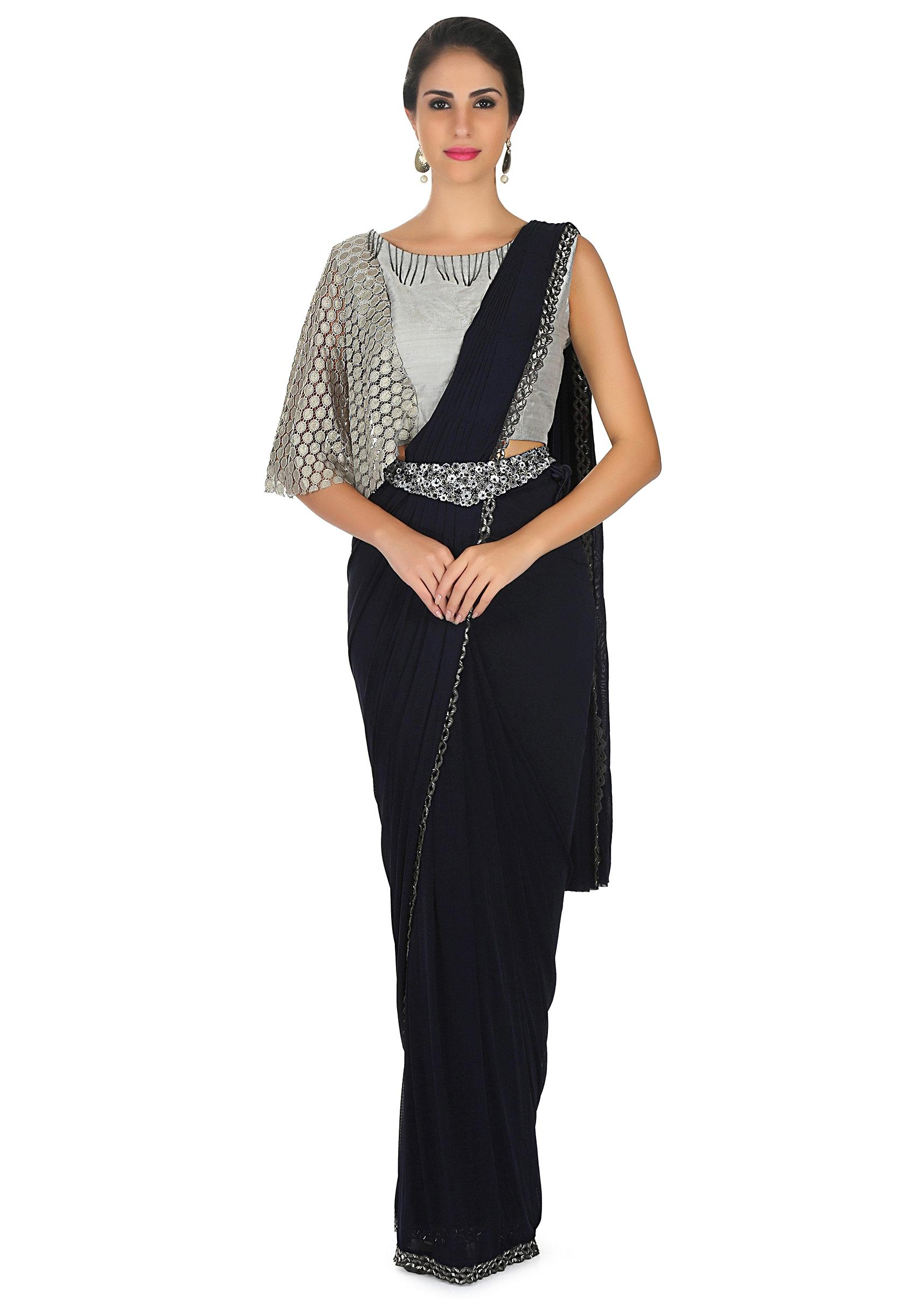 c6f1299264 Navy blue saree features lycra with pre stitched pallav and fancy belt only  on KalkiMore Detail