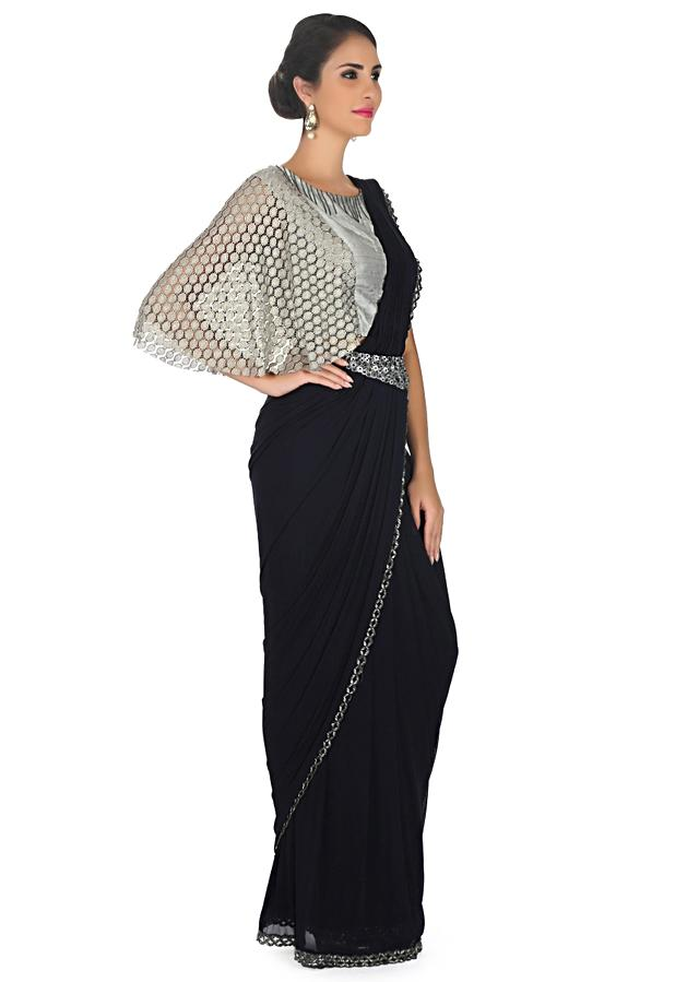 Navy Blue Saree In Lycra With Pre Stitched Pallav And Fancy Belt Online - Kalki Fashion