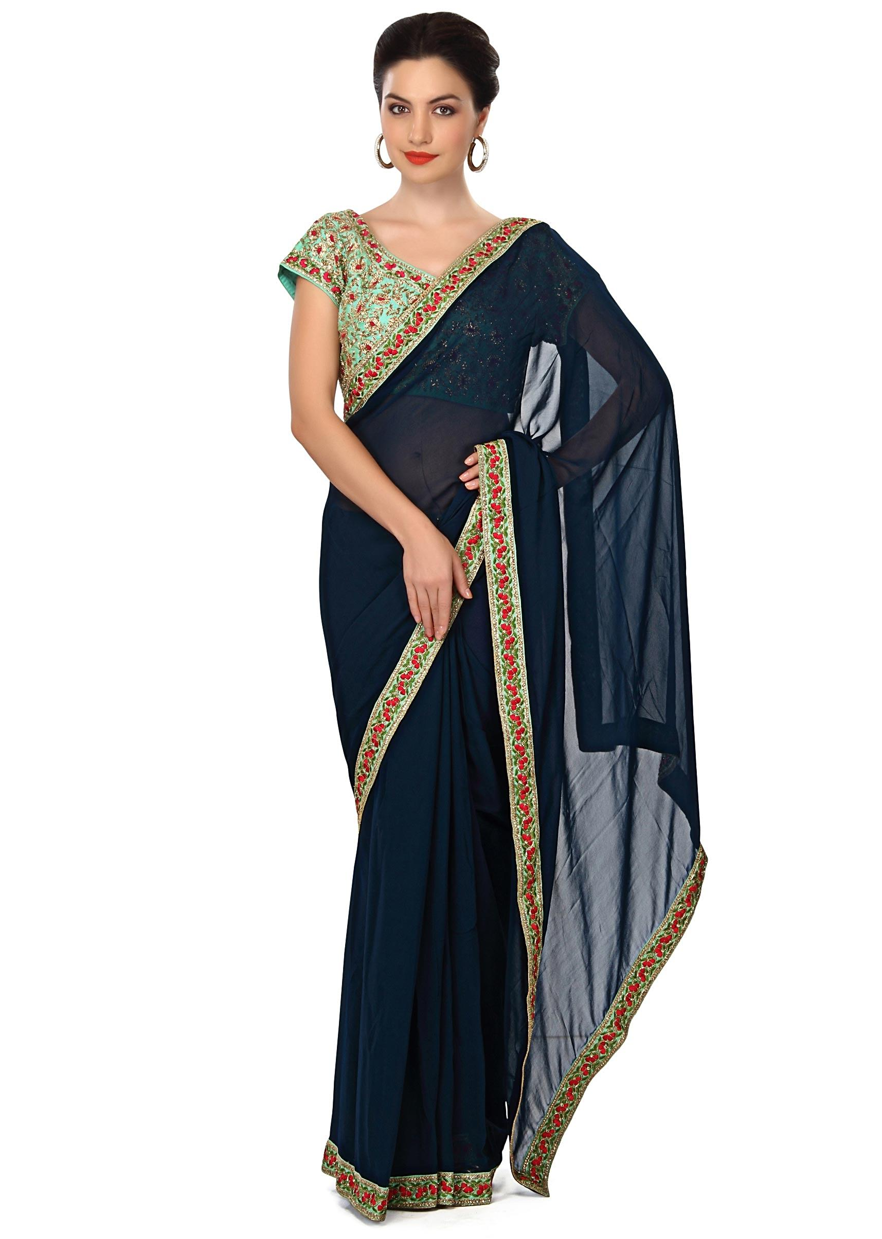 06c5374923ef87 Navy blue saree featuring in embroidered ready blouse only on KalkiMore  Detail