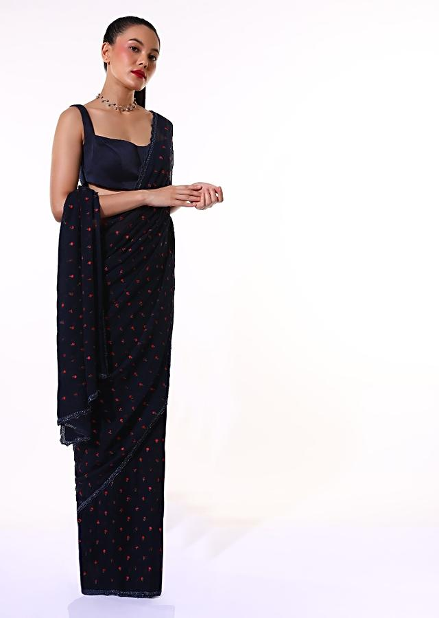 Navy Blue Saree In Chiffon Blend With Resham Embroidered Floral Buttis And Unstitched Blouse Online - Kalki Fashion