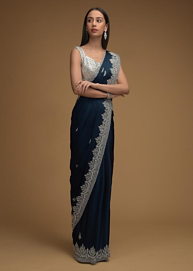 Navy Blue Saree In Chiffon Satin With Hand Embroidered Cut Dana Work Along With Unstitched Blouse Online - Kalki Fashion