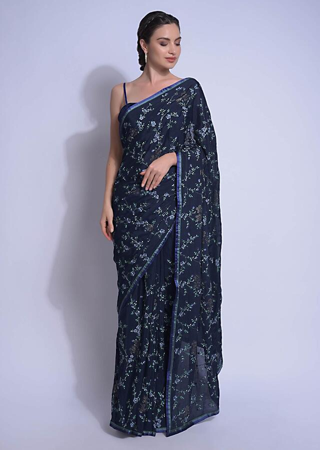 Navy Blue Saree In Chiffon With Resham Embroidered Floral Jaal And Kundan Work Online - Kalki Fashion