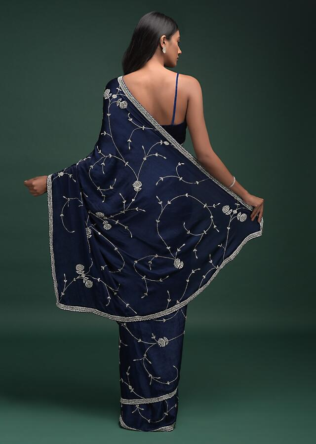 Navy Blue Saree In Chinon With Stones, Pearls And Cut Dana Embellished Vintage Vine Pattern Online - Kalki Fashion