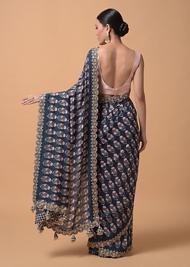 Navy Blue Saree With Floral Printed Buttis And Gotta Embroidered Border Online - Kalki Fashion
