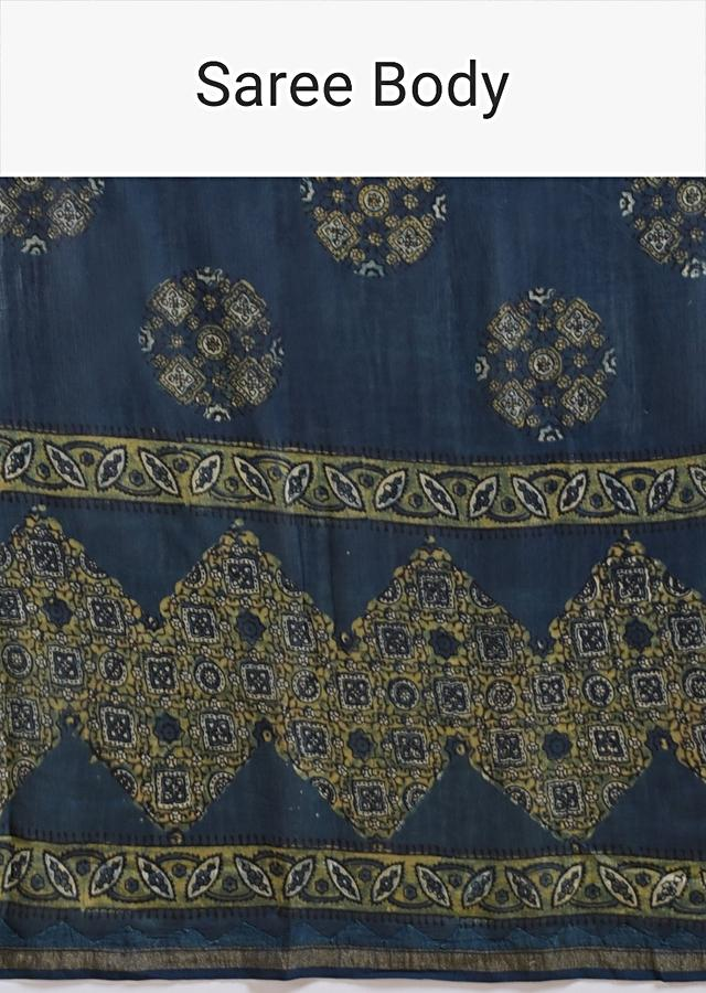 Navy Blue Saree In Cotton With Yellow Block Print And Applique Work On The Pallu Online - Kalki Fashion
