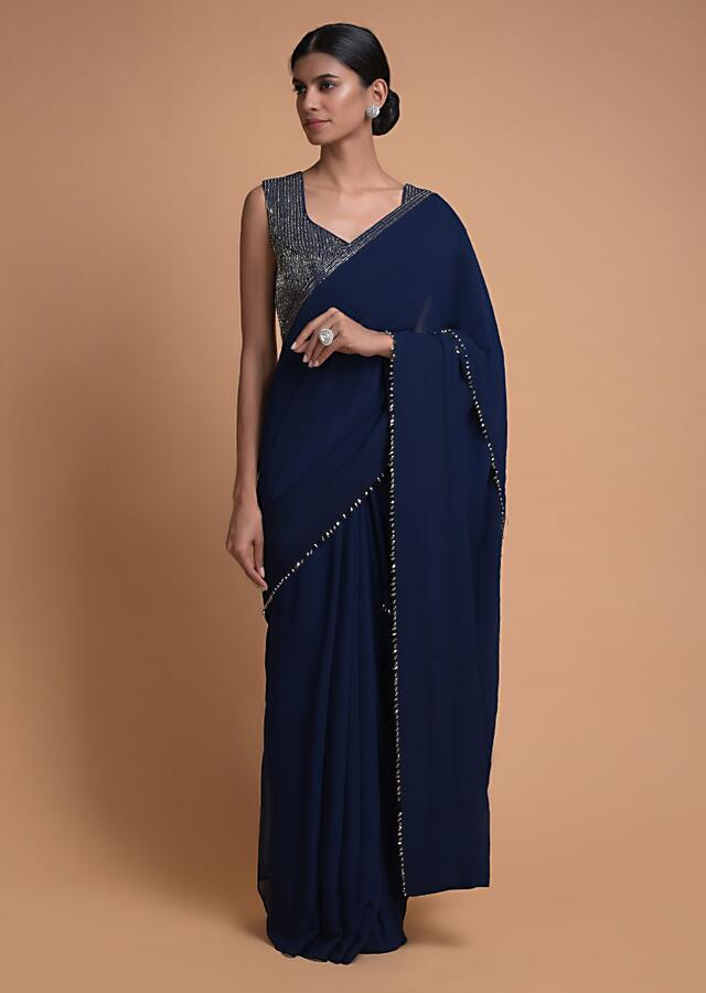 Navy Blue Saree In Georgette With Bead Tassels And Cut Dana Work On The Pallu Online - Kalki Fashion