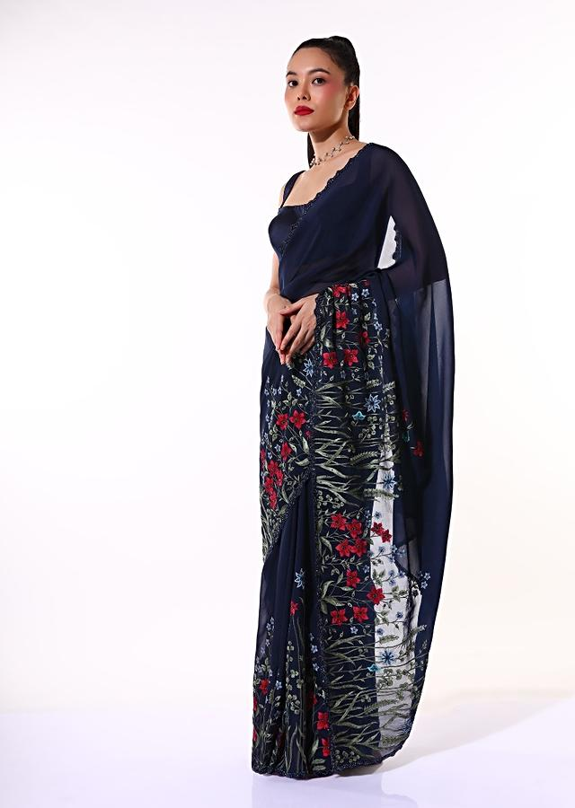 Navy Blue Saree In Organza Featuring Colorful Resham Embroidered Floral Design On The Border Paired With Unstitched Blouse Online - Kalki Fashion