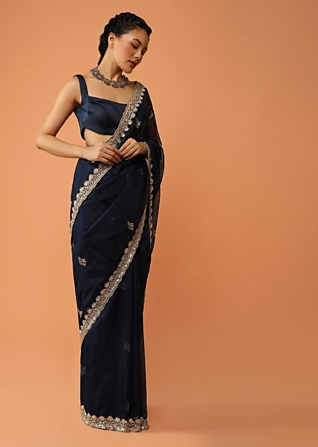 Navy Blue Saree In Organza With Sequins And Cut Dana Embroidered Floral Buttis And Border Design Online - Kalki Fashion