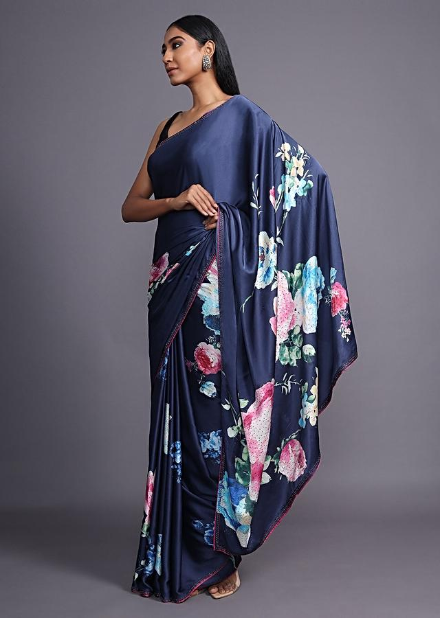 Navy Blue Saree In Satin Blend Adorned With Floral Print And Kundan Accents Online - Kalki Fashion