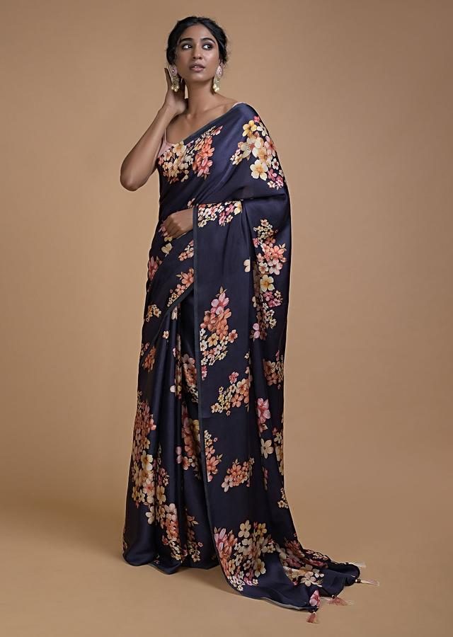 Navy Blue Saree In Satin Blend With Floral Print All Over Online - Kalki Fashion