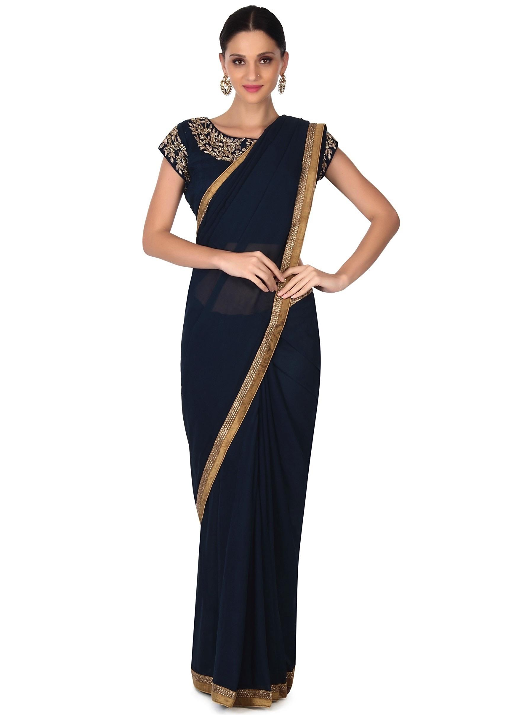 13e5e68e72d028 Navy blue saree matched with embroidery blouse only on Kalki