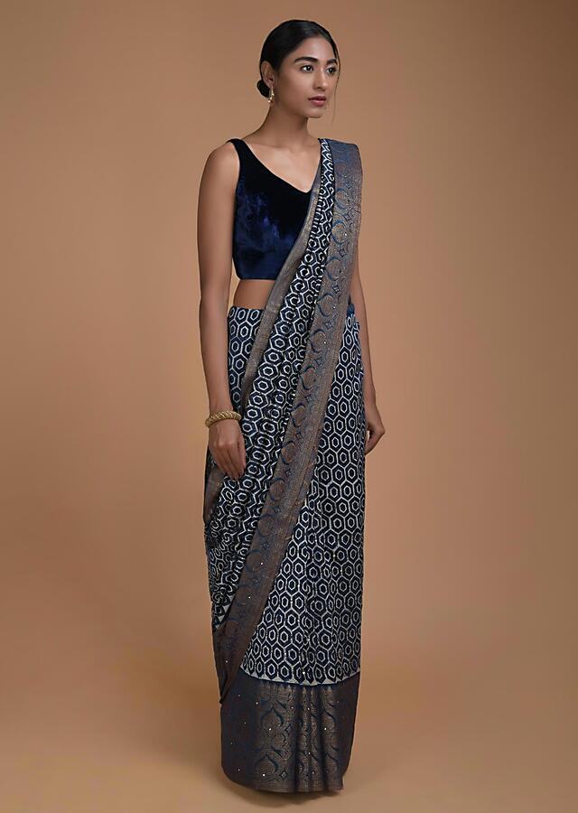 Navy Blue Saree With Honeycomb Print And Sequins Abla Work Online - Kalki Fashion