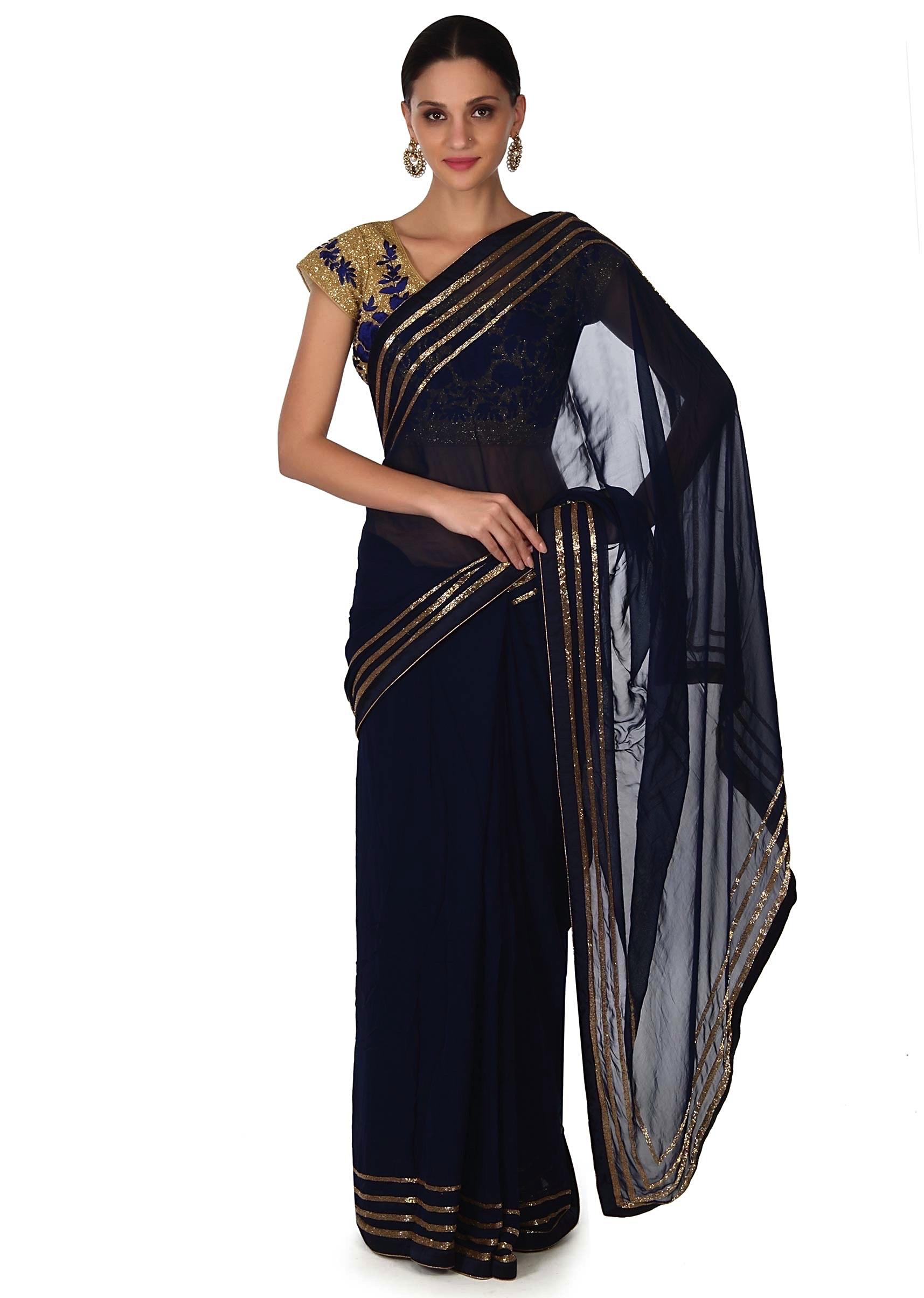 48c9818824084d Navy blue saree with kardana embroidery only on KalkiMore Detail