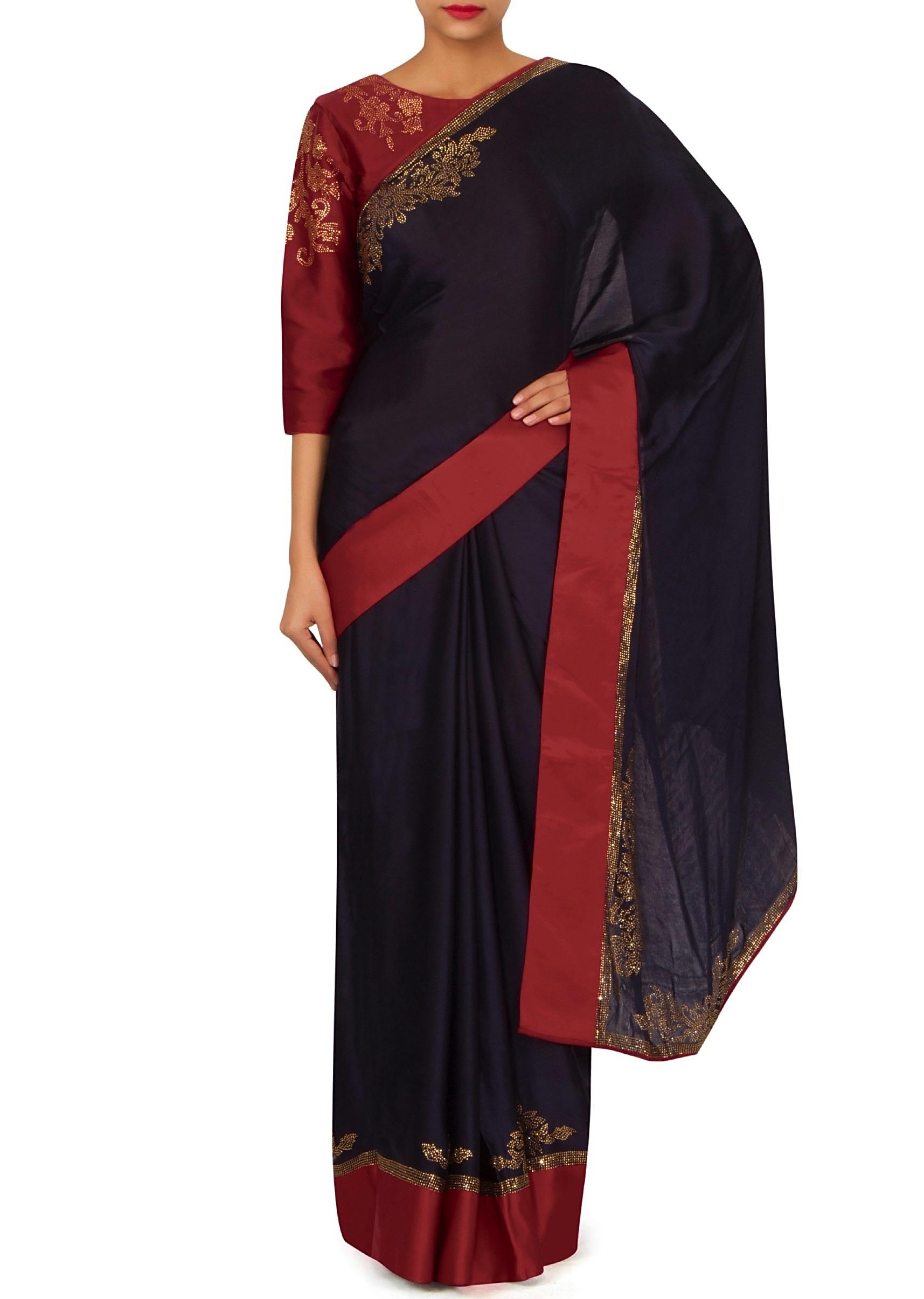 25a9a211232ba3 Navy blue saree with red embroidered stitched blouse only on KalkiMore  Detail