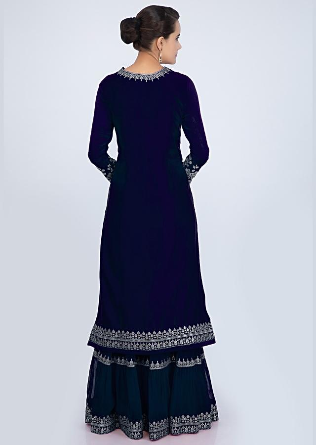 Navy Blue Sharara Suit Set With Embroidery And Butti Online - Kalki Fashion