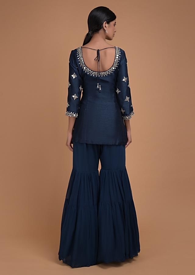 Navy Blue Sharara Suit With Mirror Abla And Gotta Patch Embroidery Online - Kalki Fashion
