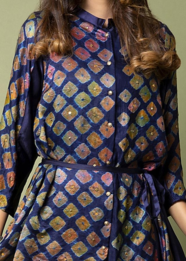 Navy Blue Shirt With Watercolor Bandhani And Hand Embroidery Paired With Twilight Shaded Cowl Pants Online - Kalki Fashion