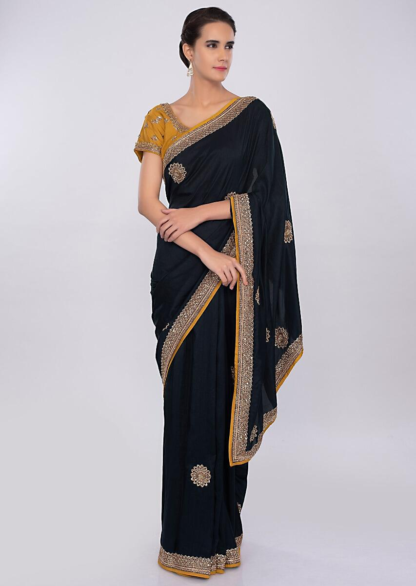 d6928d5d9d8181 Navy blue silk saree with embroidered mustard blouse only on kalki