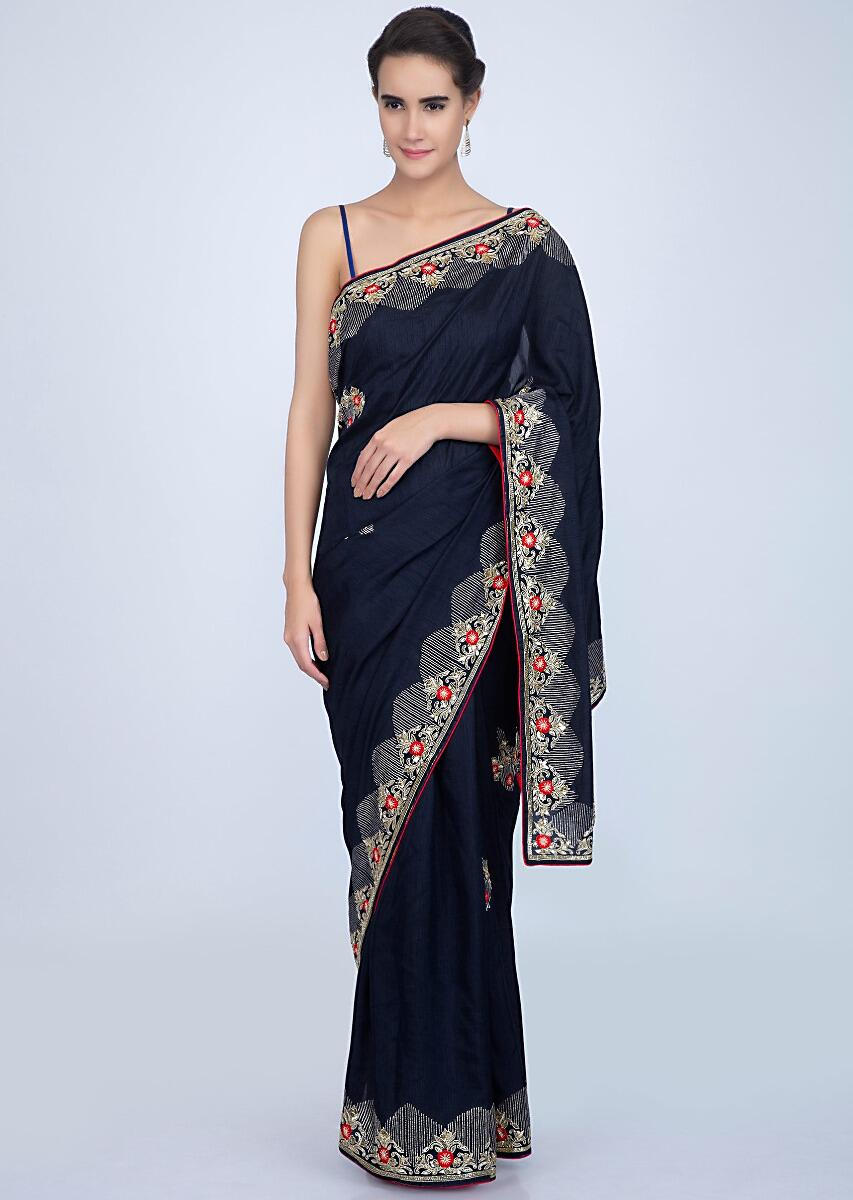 73cef68e777411 Navy blue silk saree with embroidery and butti only on KalkiMore Detail