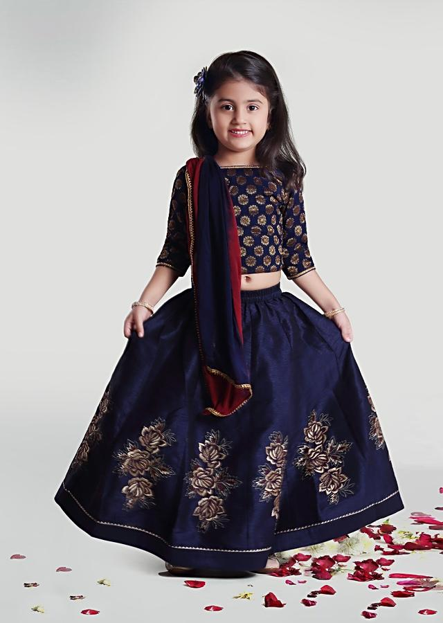Navy Blue Skirt And Choli Set With Intricately Patterned Kalis And Red Dupatta By Mini Chic