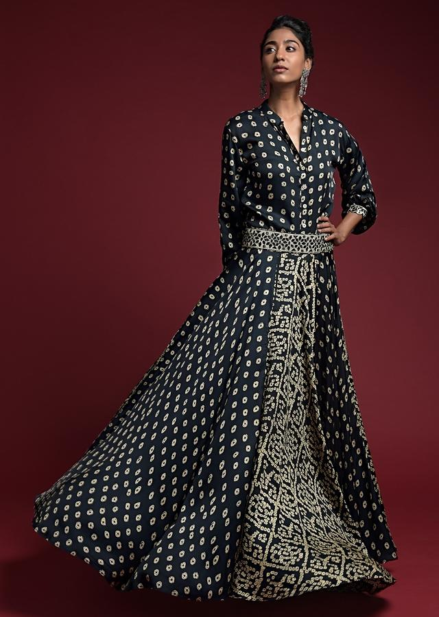 Navy Blue Skirt And Shirt Set In Satin Blend With Bandhani Print And Mirror Abla Highlights Online - Kalki Fashion