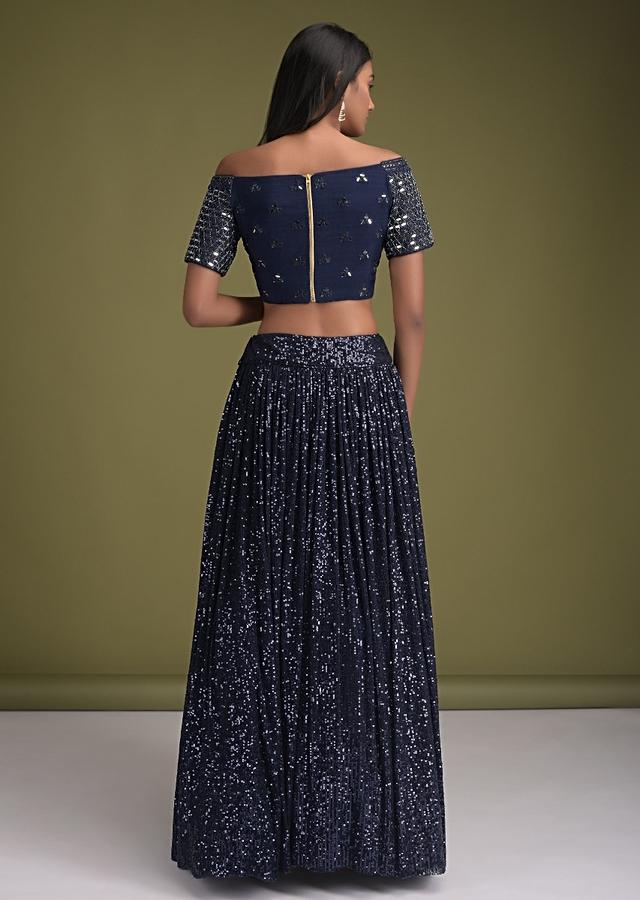 Navy Blue Skirt In Sequins Fabric And Off Shoulder Crop Top With Mirror Abla Embroidery Online - Kalki Fashion