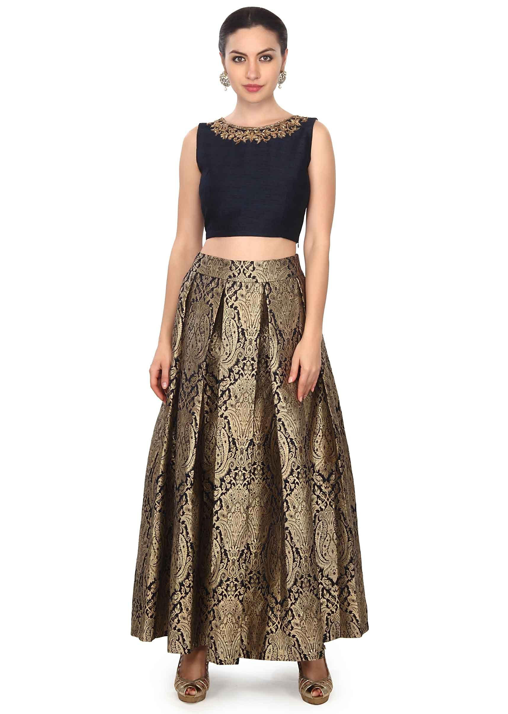1814c1a9793 Navy blue skirt matched with embroidered crop top only on KalkiMore Detail