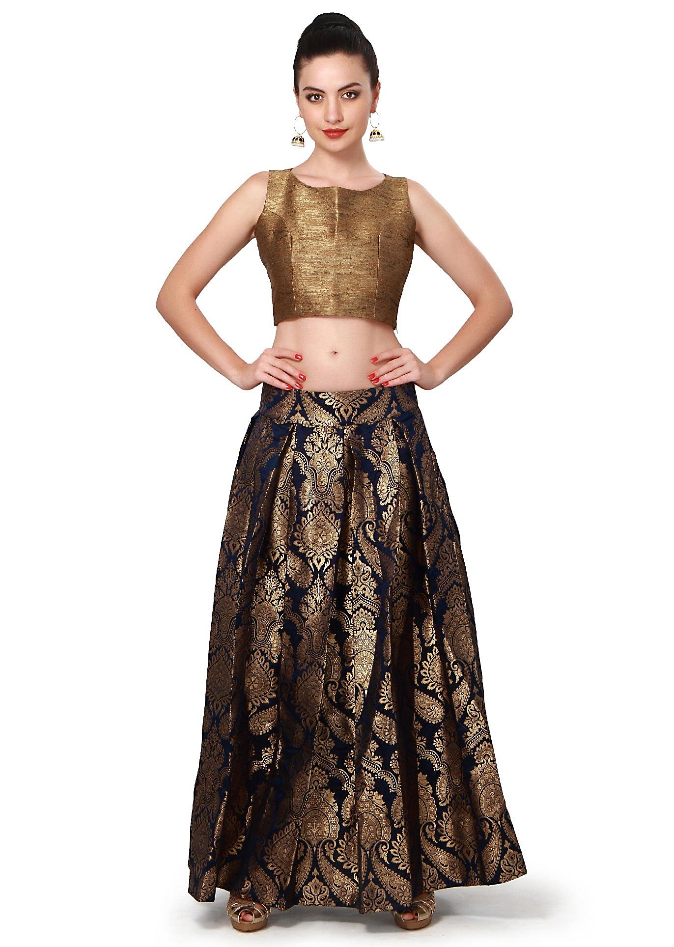 8fc0a80dc31b8 Navy blue skirt matched with gold crop top only on Kalki