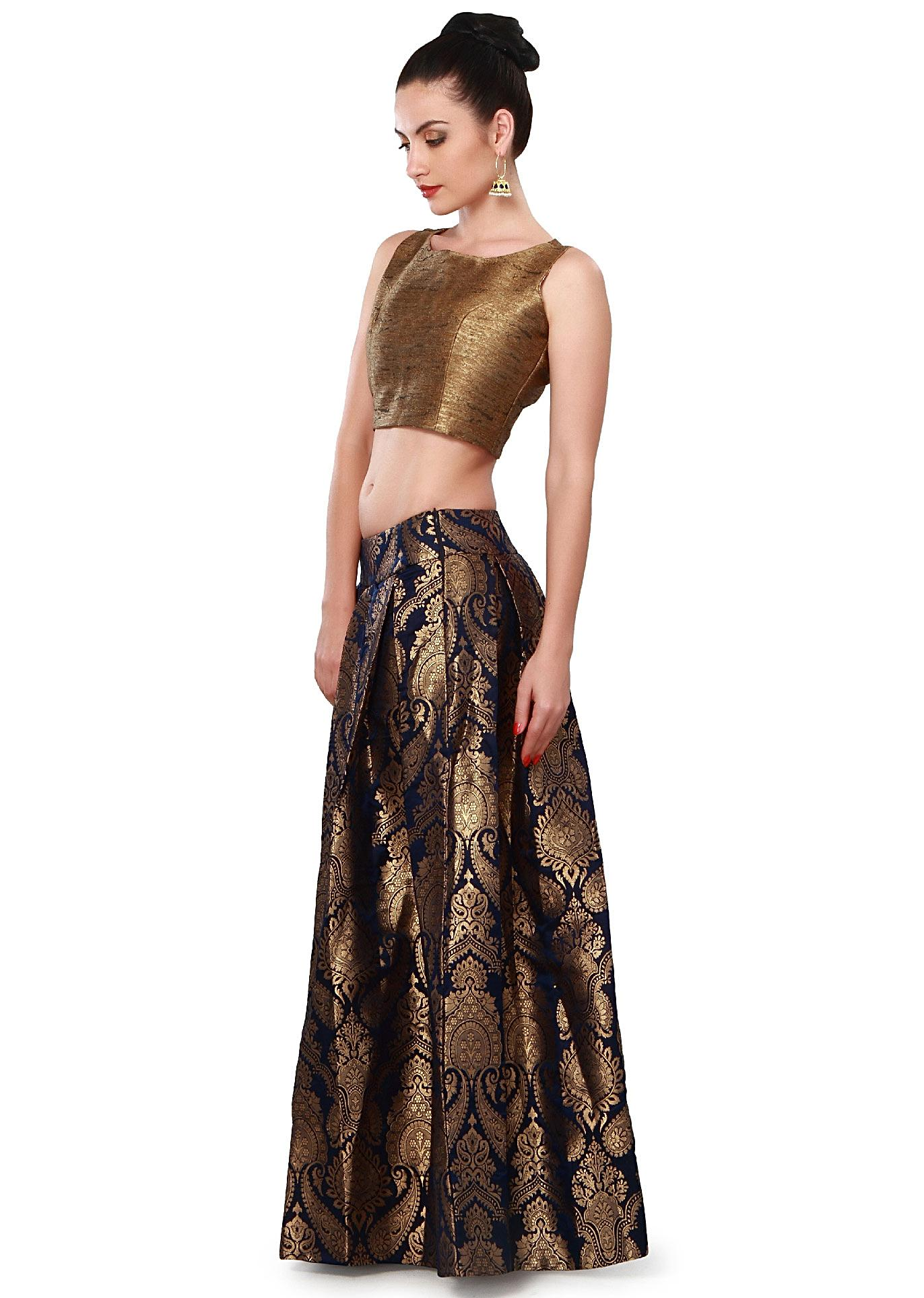 947da226267 Navy blue skirt matched with gold crop top only on Kalki