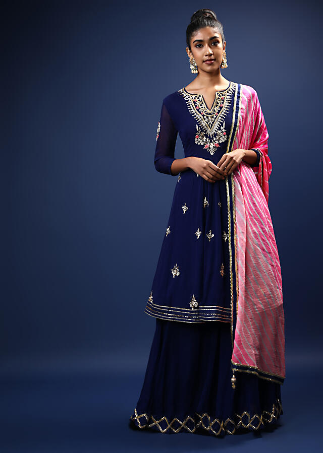Navy Blue Skirt Suit With Pink Lehariya Printed Dupatta And A Flared Kurti With Gotta Patti And Zardosi Embroidered Floral Motifs Online - Kalki Fashion