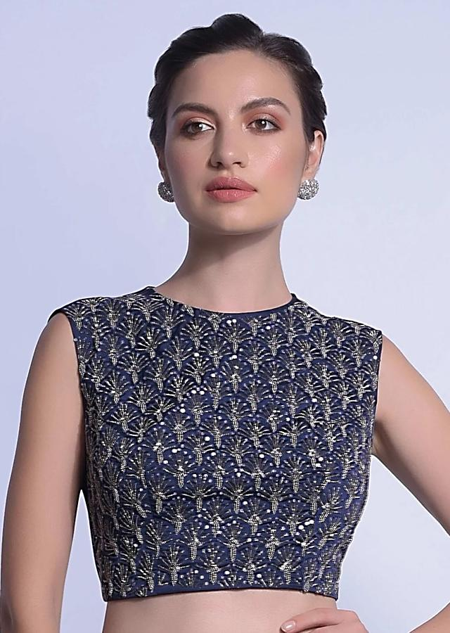 Navy Blue Sleeveless Blouse In Satin Embellished With Beads And Sequins In Scallop Motifs Online - Kalki Fashion