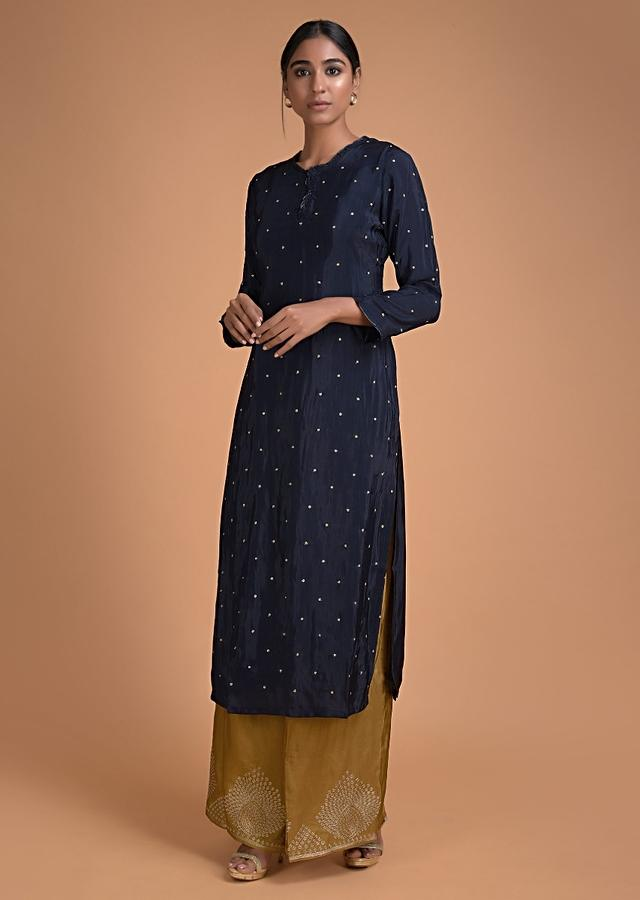 Navy Blue Straight Cut Palazzo Suit With Zari Embroidered Buttis Online - Kalki Fashion